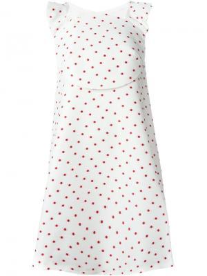 Платье А-образного силуэта в горох Delpozo. Цвет: белый