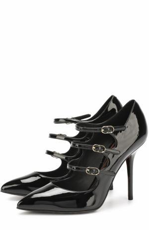 Лаковые туфли Kate с ремешками на шпильке Dolce & Gabbana. Цвет: черный