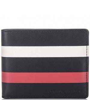 Кожаное портмоне в полоску Tommy Hilfiger. Цвет: синий