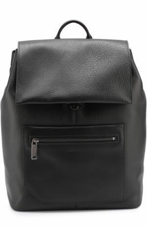 Кожаный рюкзак с клапаном и внешним карманом на молнии Bally. Цвет: черный