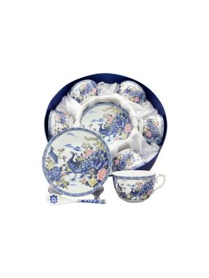 Чайный набор Павлин на серебре Elan Gallery. Цвет: белый, синий