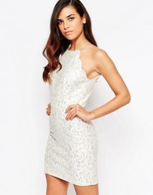 Lashes of London Кружевное платье макси с блестками Sophia. Цвет: кремовый