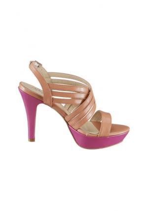 Босоножки Andrea Conti. Цвет: абрикосовый/ярко-розовый