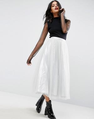ASOS Тюлевая юбка миди с подкладкой цвета металлик. Цвет: серебряный