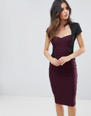 Vesper Платье-футляр миди с короткими рукавами. Цвет: фиолетовый