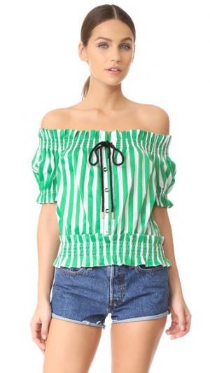 Топ в деревенском стиле Caroline Constas. Цвет: зеленый/белый в полоску