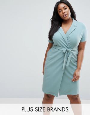 Koko Платье с запахом Plus. Цвет: синий