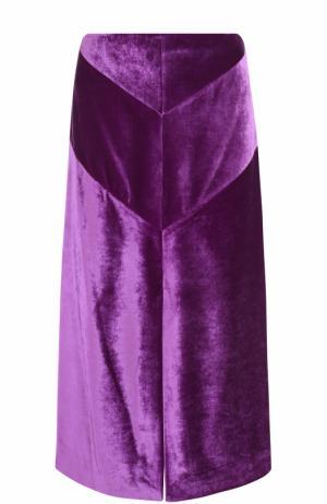 Бархатная юбка-миди с разрезом Nina Ricci. Цвет: фиолетовый