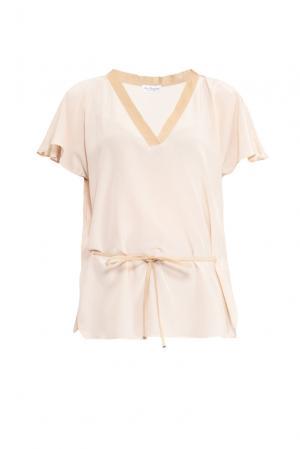 Блуза из шелка с поясом 149511 Les Tendances. Цвет: бежевый