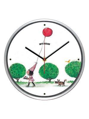 Часы настенные Mitya Veselkov. Цвет: белый, зеленый, красный