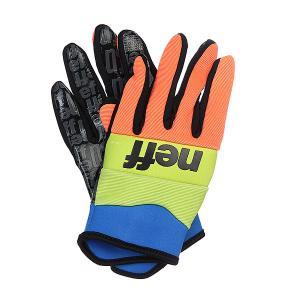 Перчатки сноубордические  Ripper Wild Neff. Цвет: синий,желтый,оранжевый