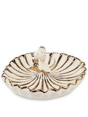 Блюдо Золотая Рыбка (Art Ceramic) Cervena kostka. Цвет: золотистый, белый