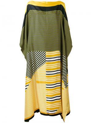 Полосатое пляжное платье Pierre-Louis Mascia. Цвет: жёлтый и оранжевый