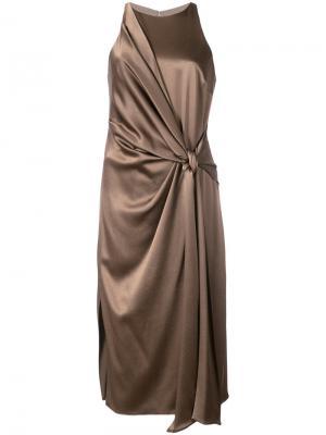 Платье с завязкой на узел Halston Heritage. Цвет: коричневый