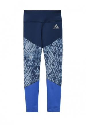 Тайтсы adidas Performance. Цвет: синий