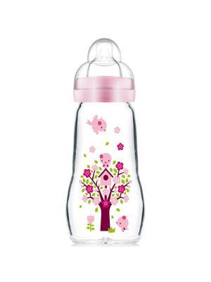 Бутылочка для кормления стеклянная, 260 мл + сменная соска-насадка в подарок MAM. Цвет: розовый