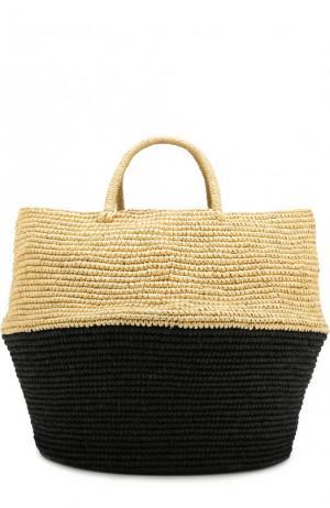 Сумка пляжная из соломки Artesano. Цвет: черный