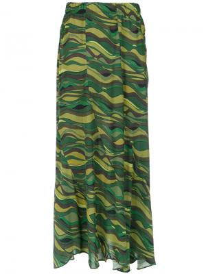 Длинная юбка с волнистым принтом Amir Slama. Цвет: зелёный
