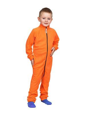Комбинезон флисовый МИКИТА. Цвет: оранжевый, темно-синий