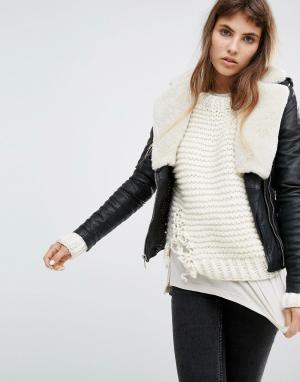 Goosecraft Кожаная байкерская куртка с воротником из искусственного овечьего меха. Цвет: черный