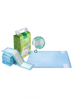 Подстилки впитывающие для туалета на липучках, 60х90см (12шт.). TRIOL. Цвет: белый, голубой