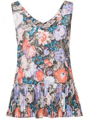 Блузка с плиссированным подолом Rebecca Taylor. Цвет: многоцветный
