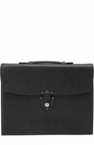 Портфель из зерненой кожи с внутренним отделением на молнии Bertoni. Цвет: черный