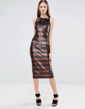 Lavish Alice Облегающее платье миди с пайетками в полоску и высокой горловиной Lavi. Цвет: черный