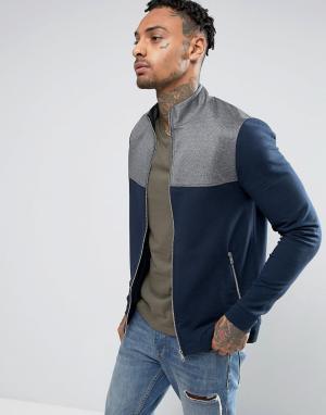 ASOS Обтягивающая спортивная куртка из трикотажа. Цвет: темно-синий