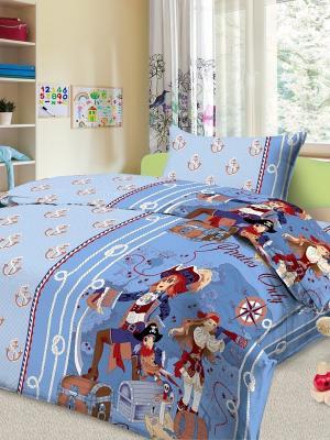 КПБ детский Letto Пираты, нав-ка 50х70, 100% хлопок. Цвет: голубой, синий