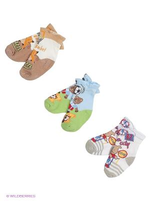 Носки, 3 пары Malerba. Цвет: зеленый, голубой