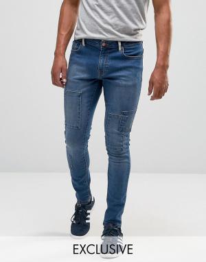 Brooklyn Supply Co. Выбеленные супероблегающие джинсы со вставками Co. Цвет: синий