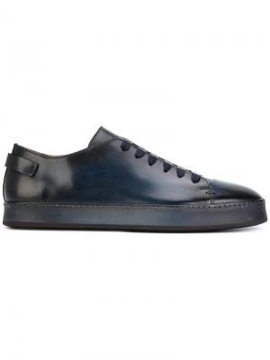 Кеды на шнуровке Santoni. Цвет: синий