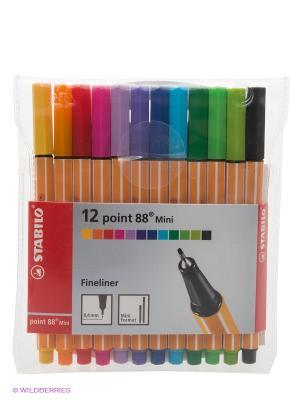 Ручка капиллярная mini, 12 шт. Stabilo. Цвет: голубой, желтый, зеленый, красный, оранжевый, розовый, синий, фиолетовый