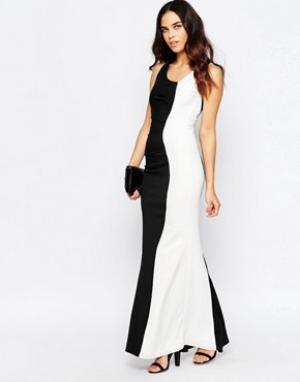 Jessica Wright Черно-белое платье макси Deelia. Цвет: черный