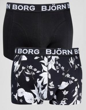 Bjorn Borg Боксеры-брифы с цветочным принтом (2 шт.). Цвет: черный