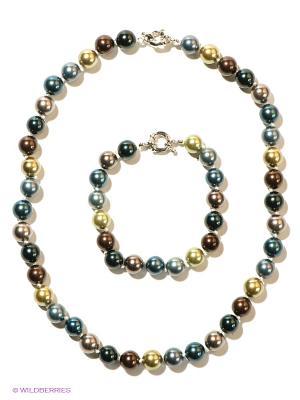 Комплект бижутерии Infiniti. Цвет: темно-коричневый, желтый, синий, морская волна