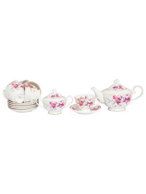 Чайный набор Серебристый мак Elan Gallery. Цвет: белый,серебристый,лиловый