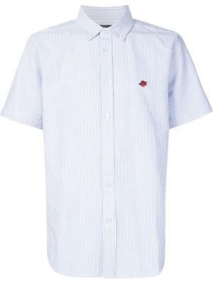 Полосатая рубашка с короткими рукавами Obey. Цвет: синий