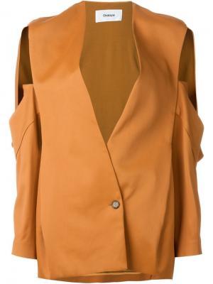 Пиджак с вырезами на рукавах Chalayan. Цвет: жёлтый и оранжевый