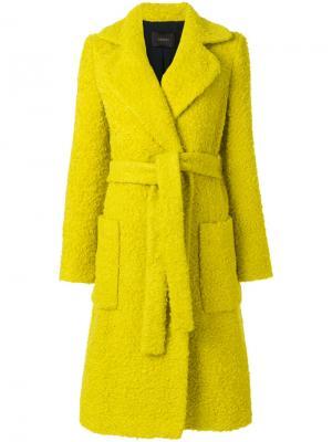 Фактурное пальто с поясом Odeeh. Цвет: жёлтый и оранжевый