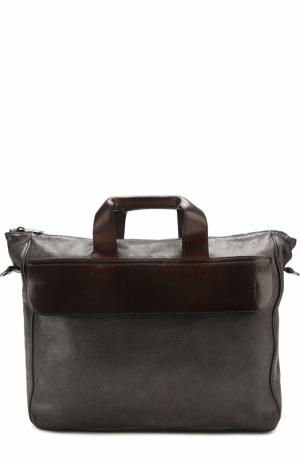 Кожаная сумка на молнии с плечевым ремнем Numero 10. Цвет: черный