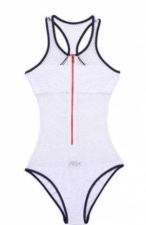Слитный купальник с контрастной отделкой и перфорированной Melissa Odabash. Цвет: белый
