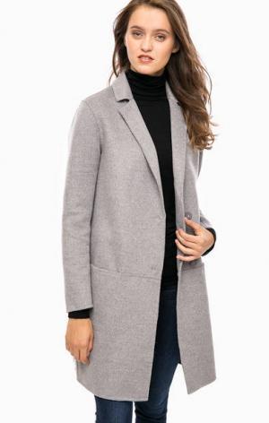 Серое трикотажное пальто на кнопках Cinque. Цвет: серый