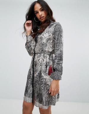 Forever Unique Платье-рубашка с принтом. Цвет: мульти