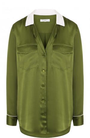 Шелковая блуза свободного кроя с контрастной отделкой Equipment. Цвет: зеленый