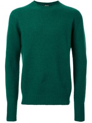 Пуловер с круглым вырезом Drumohr. Цвет: зелёный