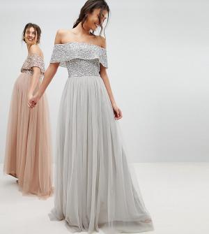 Maya Tall Асимметричное платье из тюля с пайетками на лифе. Цвет: серый