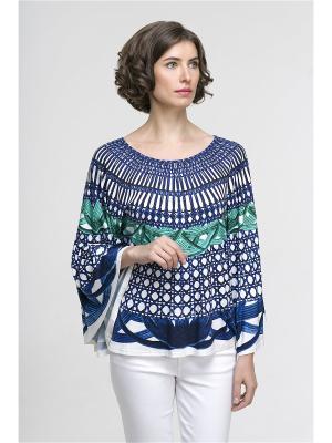 Блузка Modern. Цвет: синий, белый