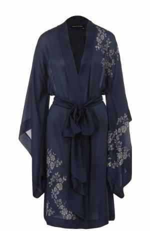Шелковый халат с поясом и кружевной отделкой Carine Gilson. Цвет: темно-синий